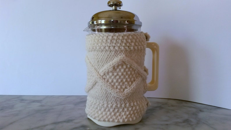 Knitting pattern: Aran French Press cozy. Instant download. image 0