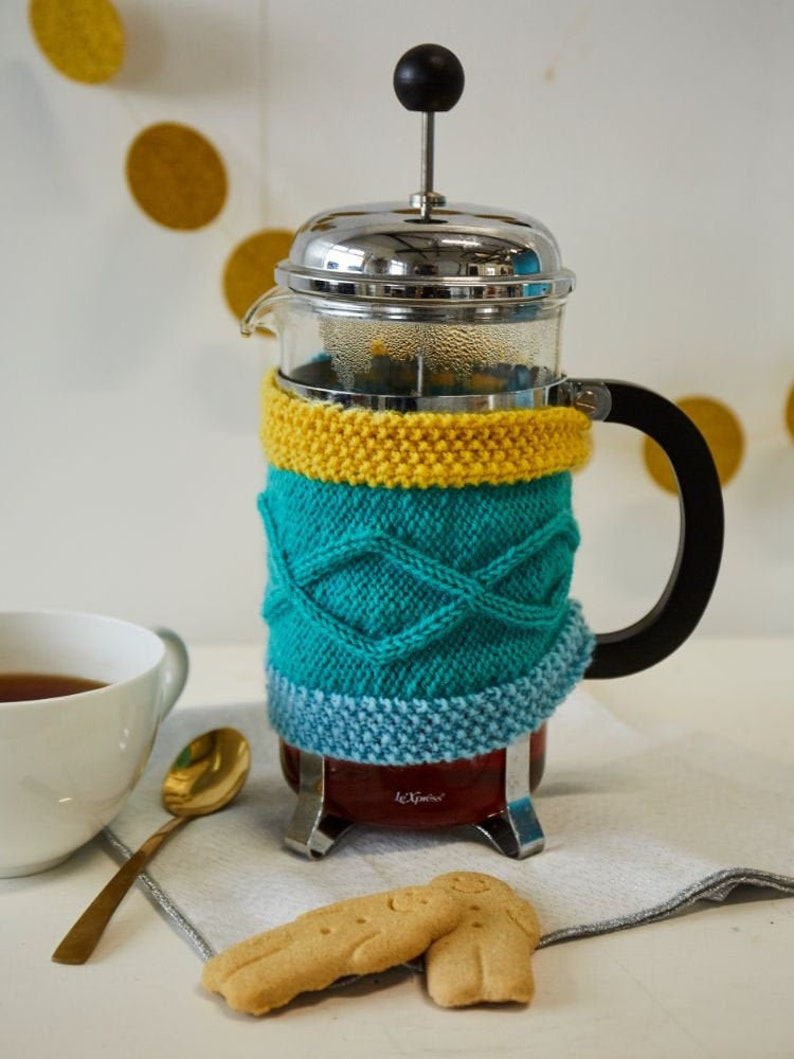 Cafetiere Cosy: Aran knit coffee pot cosy. Made in Ireland. image 0