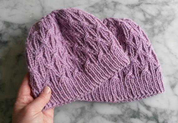 Aran knit beanie: original design. Pink wool hat. Cable knit hat. Gift for her. Handknit beanie. Made in Ireland. Gift for her. Mothers Day.