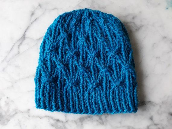Chunky knit beanie: wool alpaca hat handknit in Ireland. Original design. Beanie for him. Beanie for her. Aran beanie hat. Chunky knit hat.