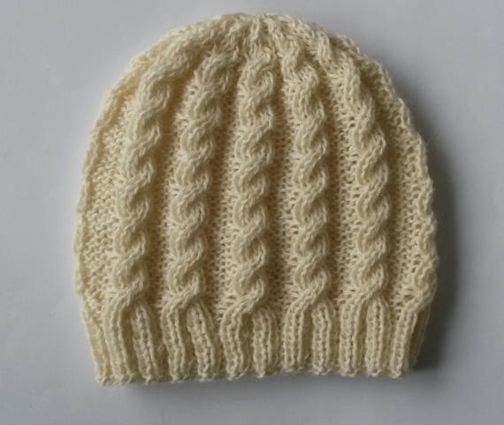 04cd6c97dac  34.84 Cable knit beanie  classic Aran hat. Handknit beanie. Original  design. Made in