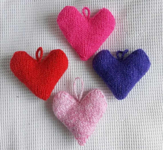 Knit heart decorations. Red knit heart. Pink knit heart. Purple knit heart. Valentine gift. Knit love heart. Heart ornament. Valentine decor