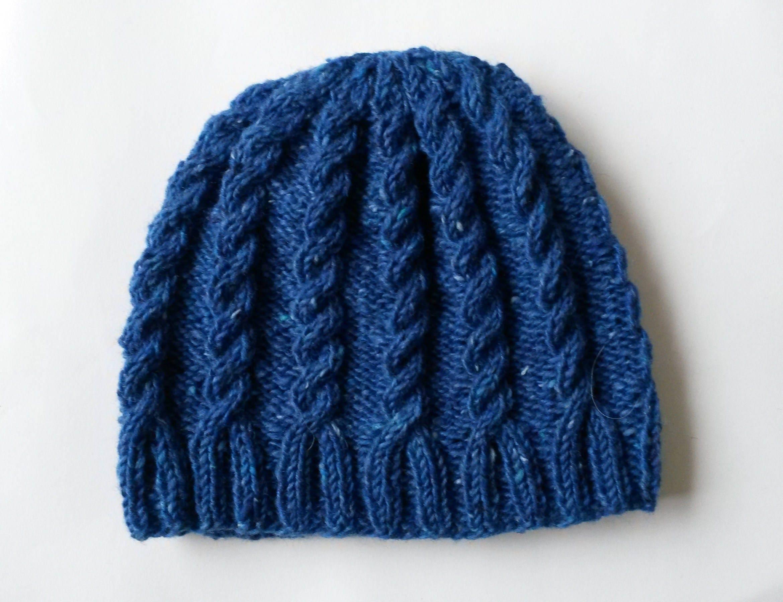 c22e0b93e29cb Cable knit beanie  handknit blue Aran hat. Irish wool. Aran Tweed ...