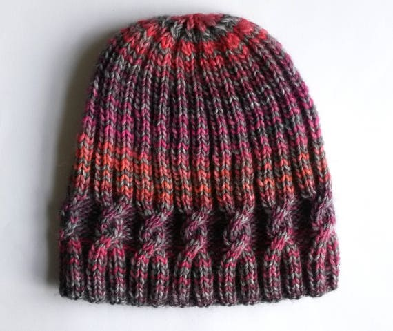 Knit beanie hat: original design. Striped beanie. Made in Ireland. Handknit hat. Beanie for her. Cable knit beanie. Xmas gift for her. OOAK.