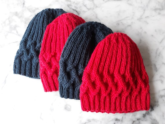Knit beanie: handknit wool beanies. Original design. Made in Ireland. Beanie for him. Beanie for her. Cable knit beanie. Red beanie hat.
