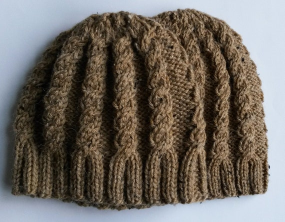 Aran cable beanie: chunky or dk knit hat in alpaca mix yarn. Classic camel colour. Made in Ireland. Unisex. Great gift or timeless accessory