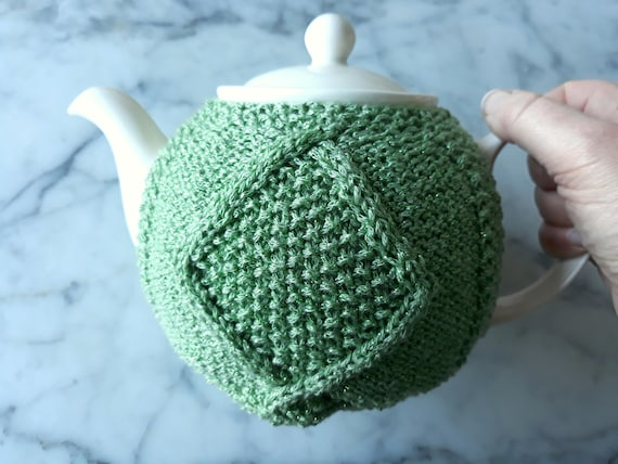 Irish knit teacozy: knitted teacozy in sparkly green yarn. Great hostess gift. Aran teacosy. Green teapot cover. Gift from Ireland.Aran gift