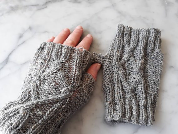 Knit fingerless mitts: cable knit mittens in gray merino Donegal Tweed wool. Original design. Made in Ireland. Matching cowl.  Knit mittens