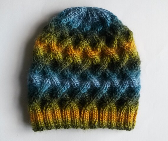Aran Beanie: chunky knit hat in green/yellow/blue mix. Made in Ireland. Unisex. Original design; one of a kind, unique hat! Great gift.
