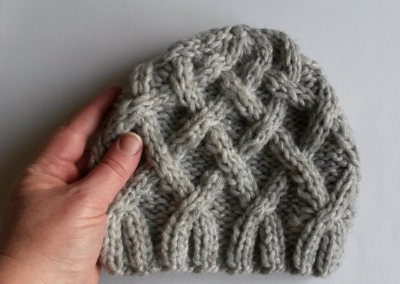 Girl's chunky beanie: cable knit hat in silver gray sparkly yarn. Made in Ireland. Original design. Gift for girl. Girl's beanie. Aran knit.