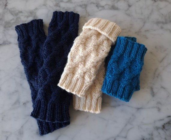 Knit wristwarmers: wool handknit wristwarmers. Cable knit wristwarmers. Made in Ireland. Knit armwarmers. Gift for her. Gift for colleague.