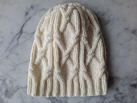 Cable knit beanie. Handknit wool beanie. Beanie for him. Beanie for her. Original design. Made in Ireland. Aran beanie.