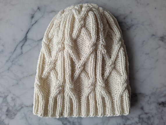 Cable knit beanie. Handknit wool beanie. Beanie for him. Beanie for her. Original design. Made in Ireland. Aran beanie hat. Men's beanie hat