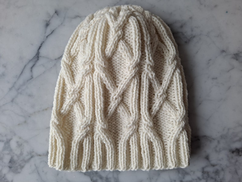 Cable knit beanie. Handknit wool beanie. Beanie for him. image 0