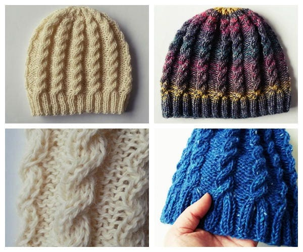 Knitting Pattern Instant Download Pdf Beanie Hat Pattern Aran Cable