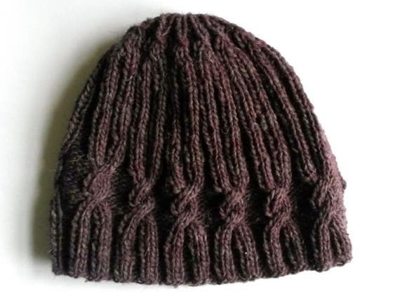Knit beanie: original design with spiral cable. Quality handspun Irish wool. Made in Ireland. Men's beanie. Women's beanie. Purple knit hat.