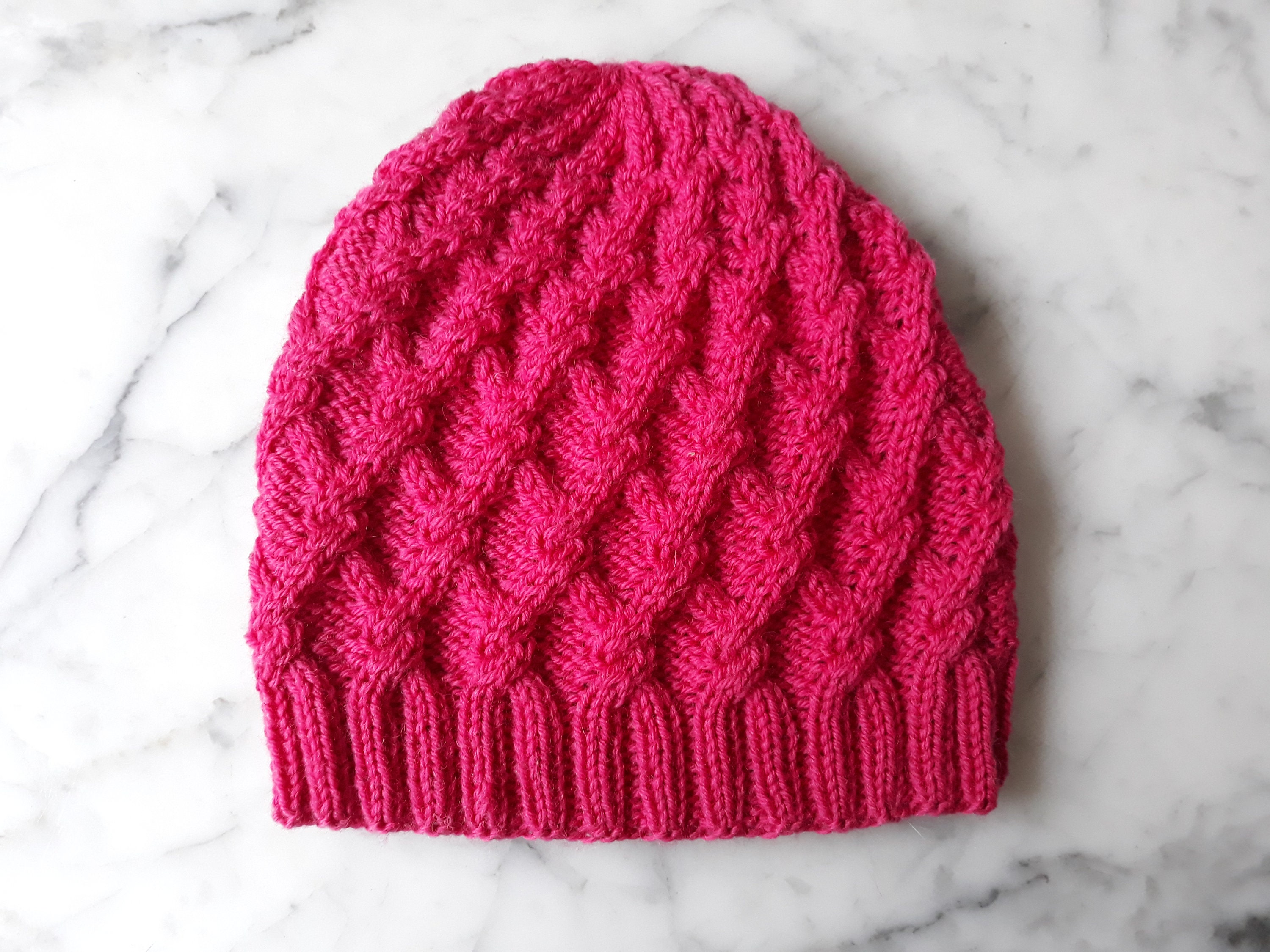 e2d51c5ff95 Cable knit beanie  handknit hat in merino wool. Pink knit beanie hat ...