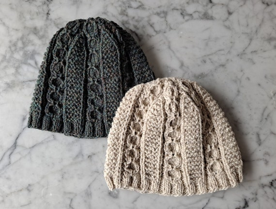 Cable knit beanie: handknit wool hat from the Aran Islands. Original design. Made in Ireland. Men's beanie. Women's beanie. Aran beanie hat.