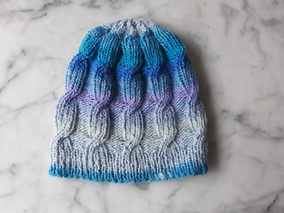 Cable knit beanie: handknit hat in acrylic yarn. Blue purple beanie. Beanie for her. Non-wool beanie. Original design. Made in Ireland. Aran