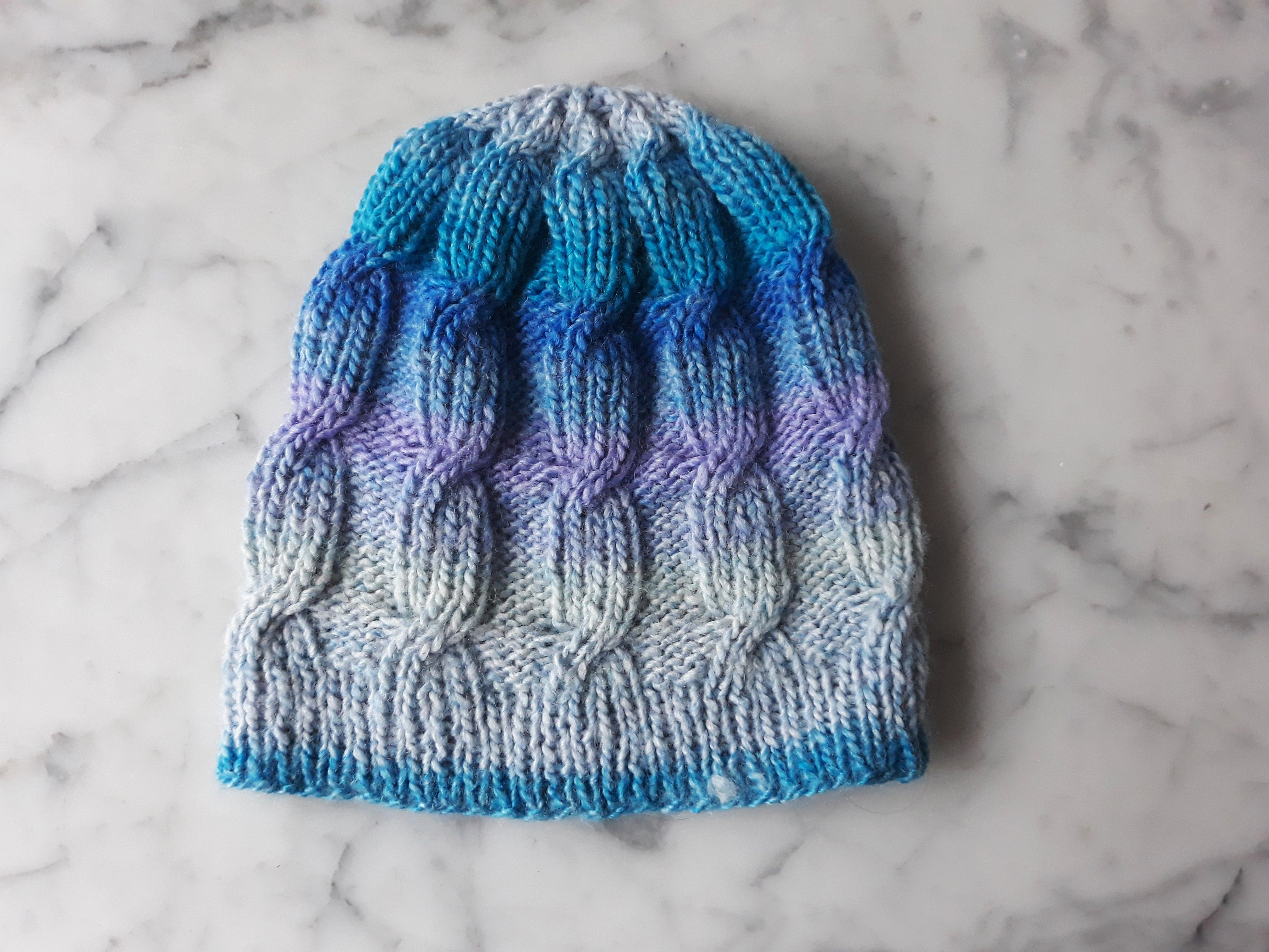 Cable knit beanie  handknit hat in acrylic yarn. Blue purple beanie ... 75d457cc290