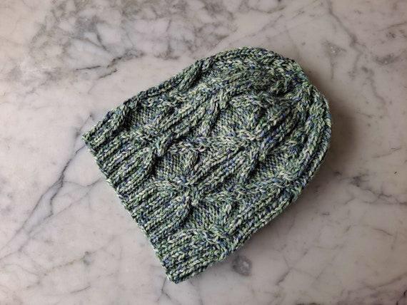 Green Aran hat: handknit wool beanie. Beanie for him. Beanie for her. Original design. Made in Ireland. Cable knit beanie. Shetland wool hat