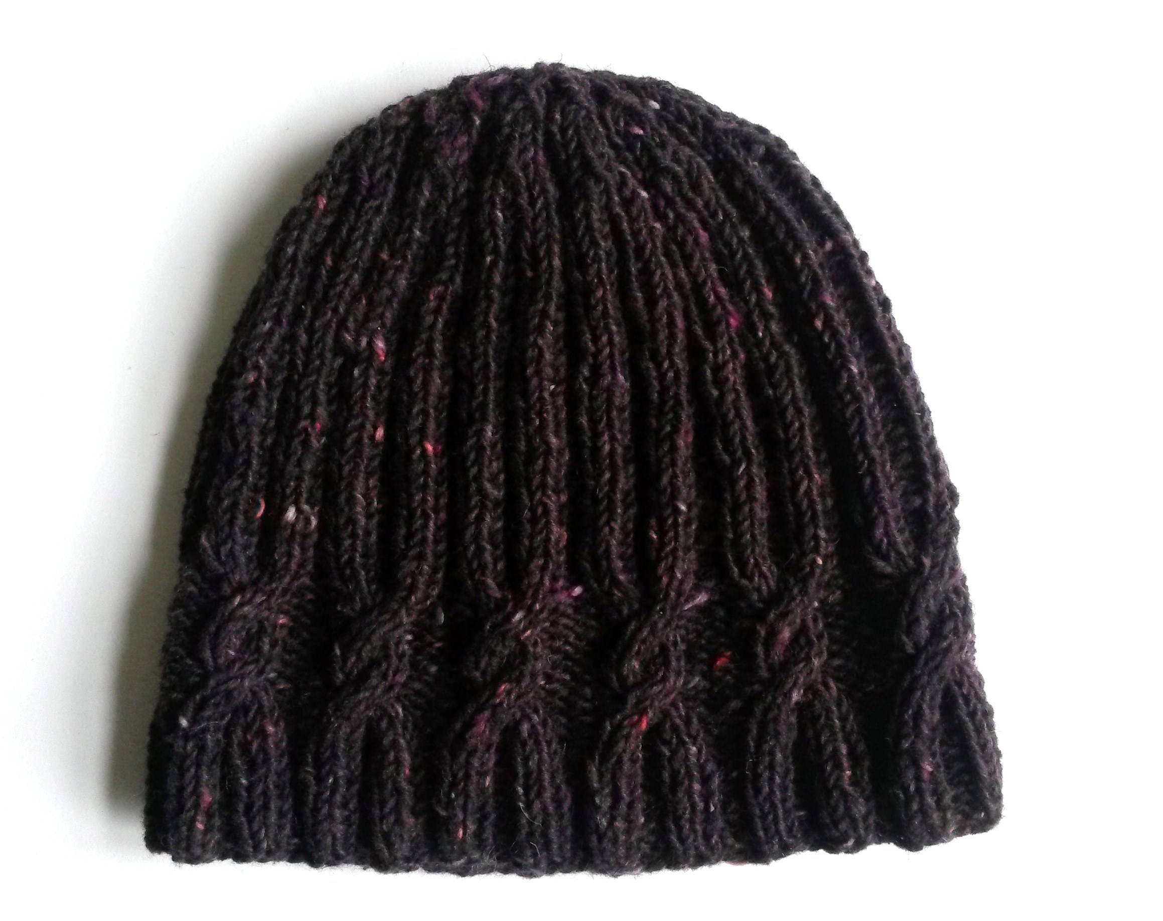 c65c81ac0224d Cable knit beanie in luxury purple black tweed Irish wool. Handknit hat ...