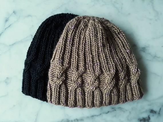 Cable knit beanie: handknit in luxury alpaca silk wool. Original design. Made in Ireland. Beanie for him. Beanie for her. Beanie for child.