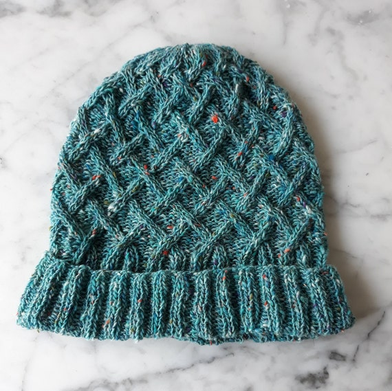 Wool beanie: cable knit beanie in turquoise tweed merino wool. Made in Ireland. Wool watch cap. Beanie for him. Beanie for her. Aran hat.