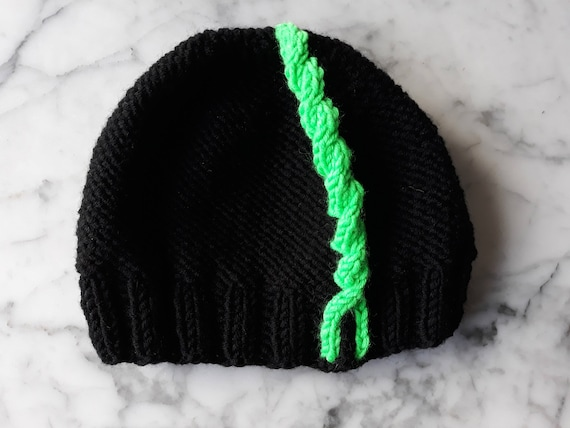 Chunky knit beanie in black with neon green cable. Original design. Made in Ireland. Winter sport hat. Men's beanie. Handknit women's hat..
