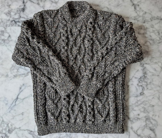 Men's Aran sweater: handknit genuine Aran in tweed wool. Made in Ireland. Aran sweater for him. Men's Large Aran jumper.  Aran sweater L Man