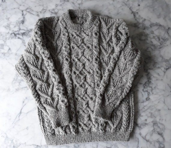 Handknit Aran sweater: grey wool jumper. Made in Ireland. Genuine Aran knit. One of a kind. Men's Aran jumper. Mens Aran sweater. Aran knit.
