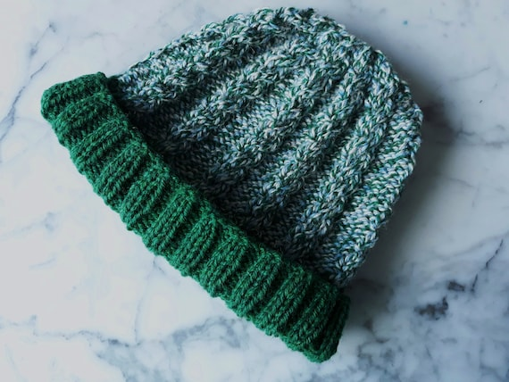 Green tweed Irish hat: handknit beanie in organic Irish wool. Gift from Ireland. Beanie for him. Beanie for her. Cable knit hat. Unique hat.