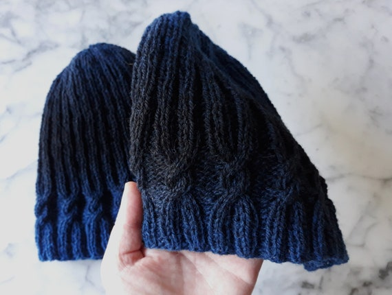 Cable knit beanie: wool handknit hat in blue black fade yarn. Natural fibres. Made in Ireland. Original design. Fade beanie. Two tone hats.