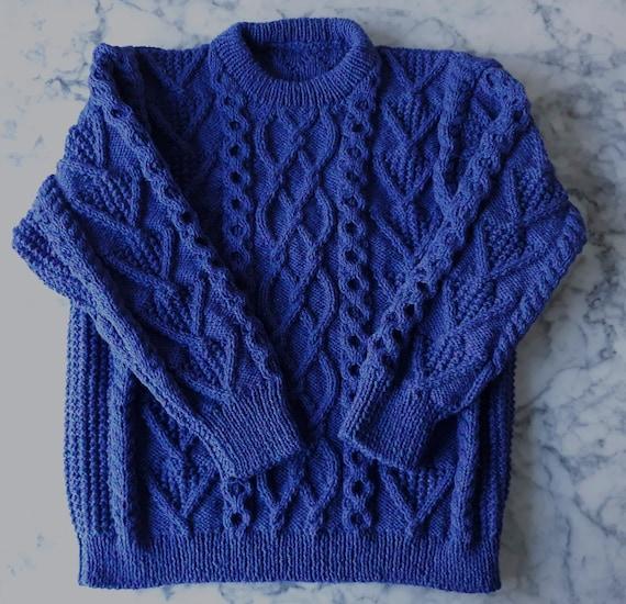 Handknit Aran sweater: royal blue wool jumper. Made in Ireland. Genuine Aran knit. One of a kind. Men's Aran jumper. Men's XL Aran sweater