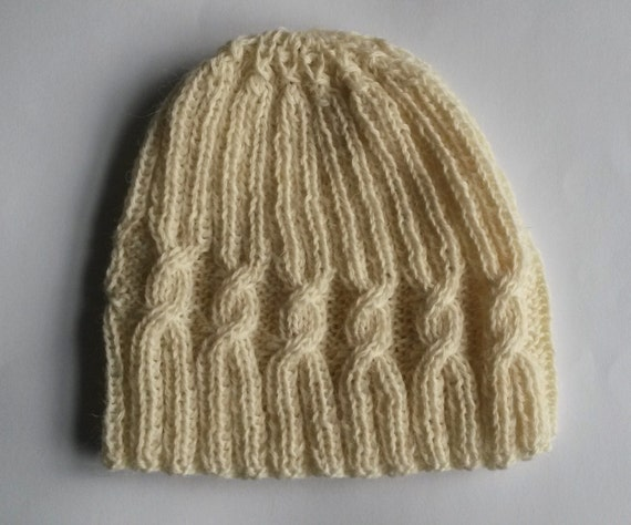 Knit Beanie: spiral cable wool hat. Men's beanie. Women's beanie. Made in Ireland. Aran knit hat. Original design. Boyfriend gift. Handknit.