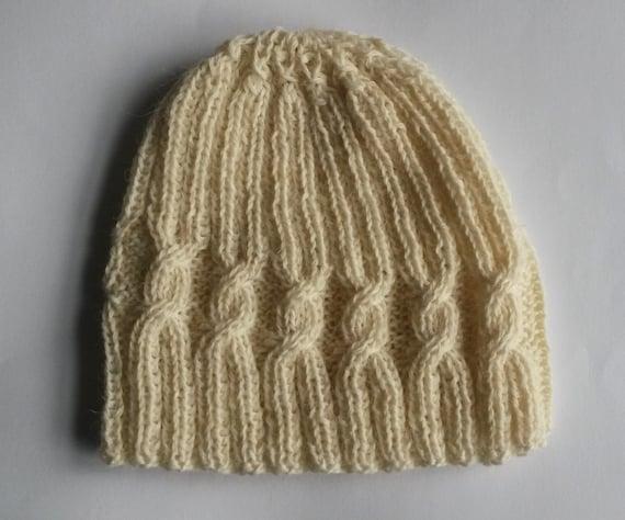 Knit Beanie: spiral cable wool hat. Men's beanie. Women's beanie. Made in Ireland. Aran knit hat. Original design. Boyfriend gift. Handknit.