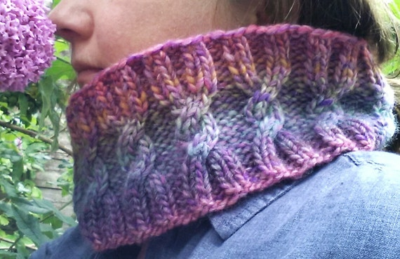 Chunky Cowl Aran Cable Neckwarmer. Knit in luxury Debbie Bliss Riva yarn. Unique graduating shades. Purple & Pink. Circle scarf. Great gift.