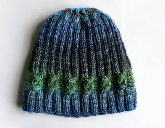 Knit beanie hat: original design. Made in Ireland. Handknit hat. Women's beanie. Men's beanie. Striped beanie. Cable knit hat. One of a kind