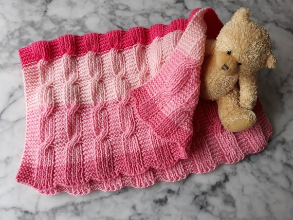 Baby Blanket Knitting pattern: instant download PDF. Easy Aran blanket. Yarn cake knitting pattern. Reversible blanket. Aran baby afghan.