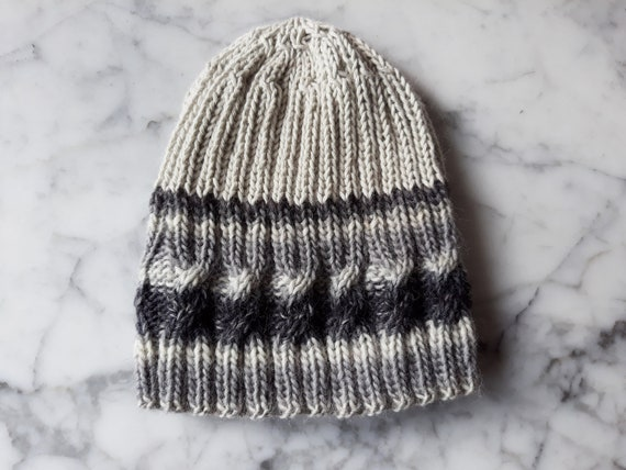 Cable knit beanie: grey handknit hat. Original design. Made in Ireland. Beanie for him. Beanie for her. Grey striped hat. Gray knit beanie.