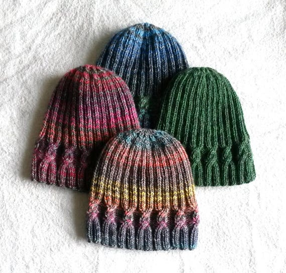 Knitting pattern: instant download PDF. Beanie hat pattern. Cable knit hat pattern. Aran hat pattern. Simple Cable Beanie. Unisex design.