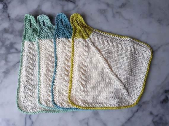 Knit cotton towels with hanging loop. Original design. Made in Ireland. Handknit towels. Knit facecloths. Housewarming gift. Hostess gift.