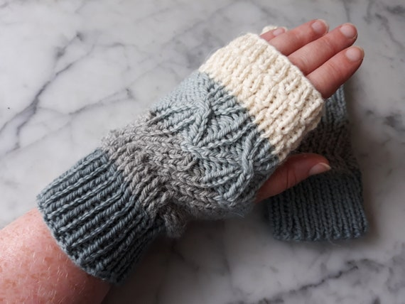 Fingerless mitts: handknit mittens. Matching cowl available. Original design. Made in Ireland. Striped mitts. Mittens for him. Mitts for her