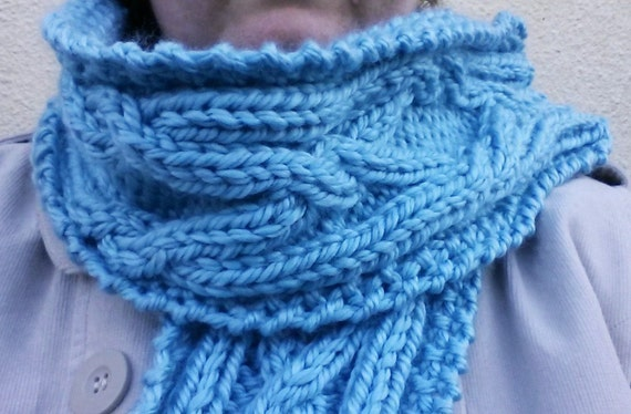 Chunky knit scarf: oversized Aran scarf. Cable knit scarf. Original design. Made in Ireland. Pale blue acrylic yarn. Great gift or accessory
