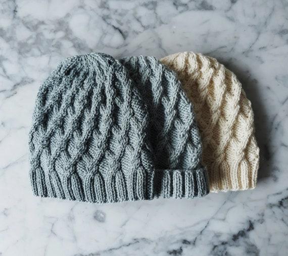 Knitting pattern: Salthill Beanie. Aran hat pattern. Cable knit hat pattern. Digital download. Knit your own hat. Irish beanie hat pattern.