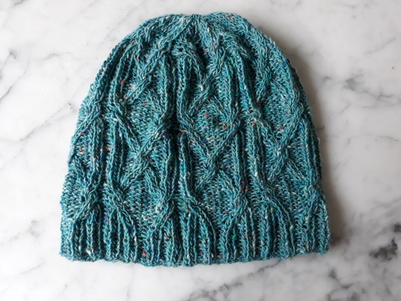 Cable knit beanie in merino Donegal Tweed yarn. Turquoise beanie. Original design. Made in Ireland. Handknit hat. Aran knit beanie. Aran hat
