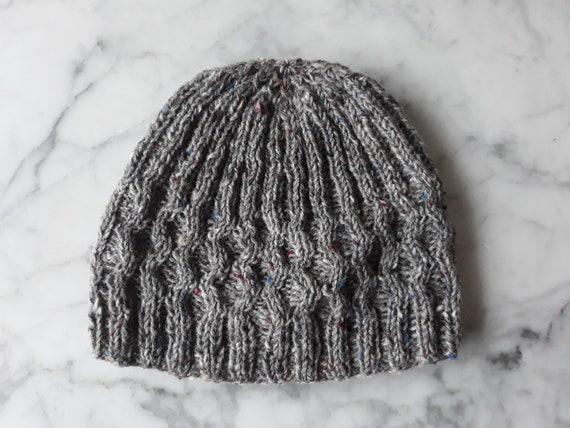 Man's knit beanie: Aran tweed wool cap. Made in Ireland. Original design. Donegal Tweed wool. Beanie for him. Gray knit beanie. Wool beanie.