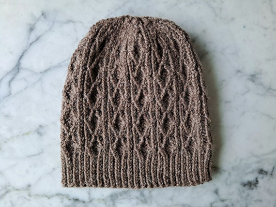 Cable knit hat: brown wool beanie. Original design. Handknit beanie. Beanie for him. Beanie for her. Made in Ireland. Aran beanie hat.