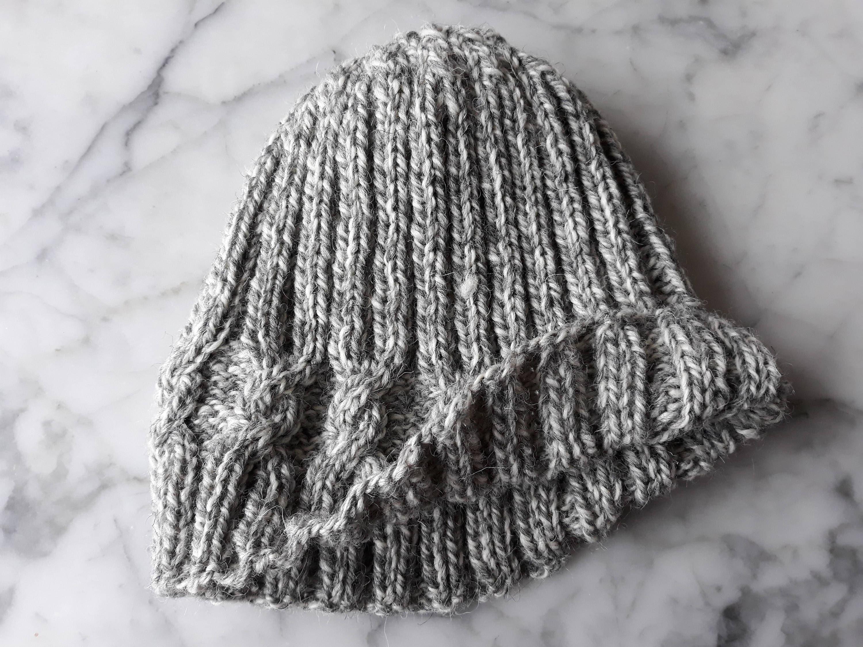 Girlfriend gift. Christmas gift for her Striped beanie Women/'s beanie Made in Ireland Aran knit beanie Cable knit hat Knit beanie hat
