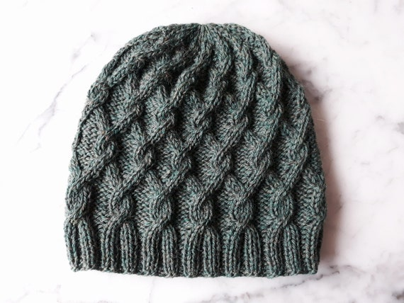 Knit beanie: handknit Aran hat. Wool beanie. Aran beanie. Green wool hat. Original design. Made in Ireland. Beanie for him. Beanie for her.